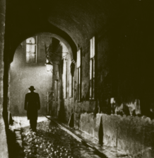 Welles as The Third Man, walks into the mist, ca. 1949