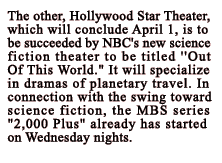 Announcement of NBC's Out of This World as the original title of Dimension X