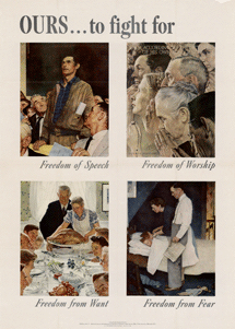 (OWI Poster No. 47) This is what was at stake once we entered the War. The OWI's famous Four Freedoms Poster by Norman Rockwell. This is the poster and the idea that every right-wing organization or party in America has denounced as a legacy of The FDR Years. The irony is that it wasn't FDR's brainchild. It was the OWI's--a 'homeland security' organization.