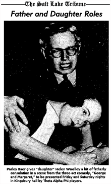 Parley Baer in a fatherly role in the 1939 production of George and Margaret for Theta Alpha Phi