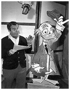 Paul Frees with one of thousands of alter egos, Ludwig Von Drake, ca. 1953
