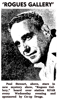 Paul Stewart promo for Rogue's Gallery from January 30 1951