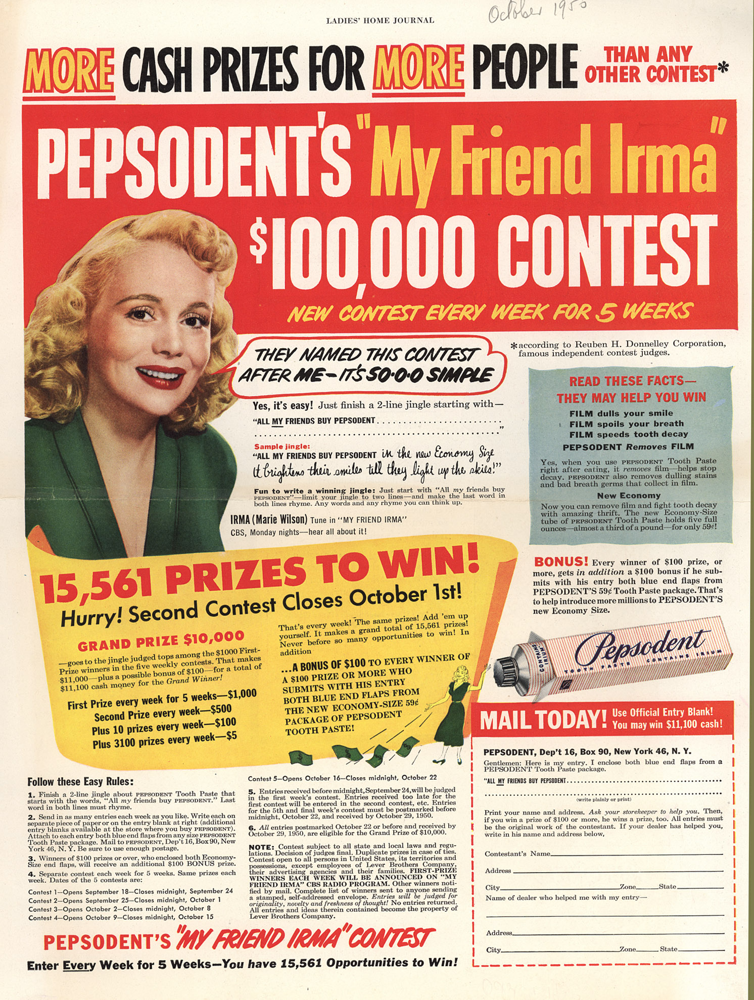 Pepsodents_My_Friend_Irma_100000_Contest