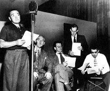 Peter Lorre records Mystery In The Air, with Harry Morgan, Hans Conreid and Ben Wright, ca. 1947