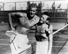 Lorre kids around with tennis partner, the legendary Don Budge, ca. 1939