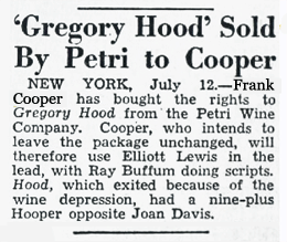 Frank Cooper of Frank Cooper Associates was the programming packager who purchased The Casebook of Gregory Hood from the Petri family on July 12 1947