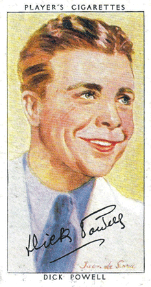 Player's Cigarette premium card of Dick Powell, ca. 1937