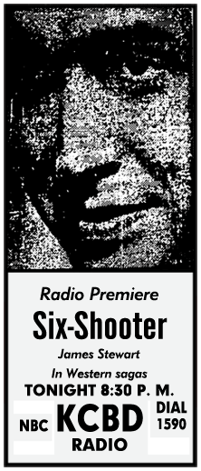 Premiere spot ad for The Six Shooter from September 30 1954