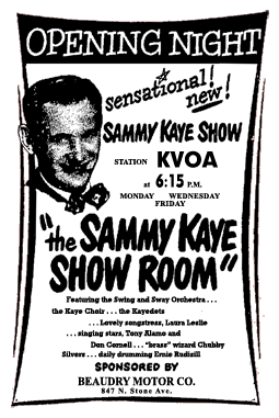 Spot ad for premiere of The Sammy Kaye Showroom over KVOA from May 16 1949