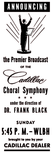 Premier spot ad for the Cadillac Choral Symphony on March 14th 1953