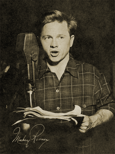 Mickey Rooney takes the CBS mike for Shorty Bell