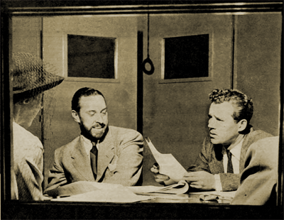 William Spier and Howard Duff in rehearsal for The Adventures of Sam Spade, Detective
