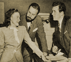 Howard Duff with his two Radio mentors, Lurene Tuttle, left, and William Spier, center. ca. 1949