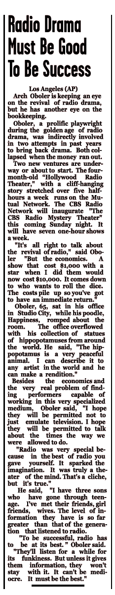 Arch Oboler's thoughts on 70s Radio Drama revivals from the December 31 1973 edition of the Edwardsville Intelligencer. [Right-click to download the text version.]