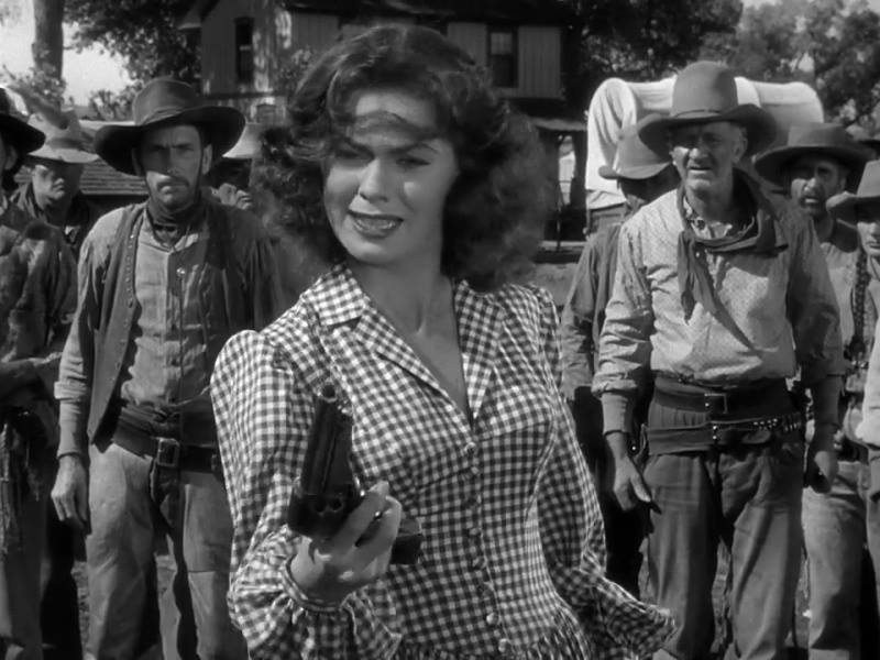RED RIVER (1948) Joanne Dru and Walter Brennan.