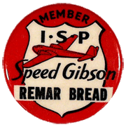 Remar Baking I-S-P Member pin-back for Speed Gibson