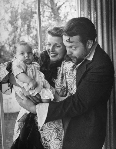 Rita Hayworth,her husband Orson and their baby..