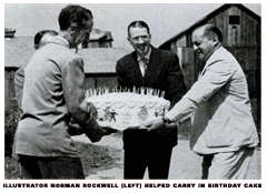 When Grandma Moses turned 88 on September 7, 1948, Norman Rockwell helped mark the occasion by helping deliver a gigantic birthday cake to Grandma Moses' home.