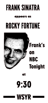 WSYR 'Rocky Fortune' spot ad from October 13, 1953