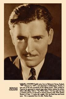 Ronald Colman fan card circa 1932
