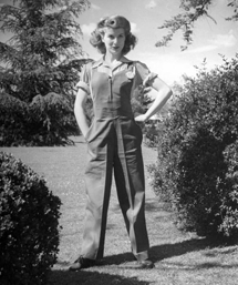 Frances Robinson models the latest Rosie the Riveter wear from 1942