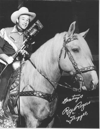 Roy Rogers and Trigger perform a remote broadcast from a rodeo.