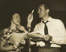 Lurene Tuttle and Howard Duff at the CBS Mike for Sam Spade, ca. 1947