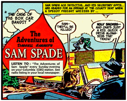 Sam Spade comics advertising Wildroot Cream Oil sprang up for several years in comic books and Sunday newspapers
