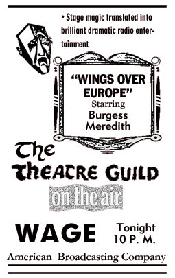 Spot ad for 1st Season premiere of Theatre Guild On the Air from September 9 1945