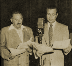 Ed Begley and Dick Powell at the NBC mike for Richard Diamond