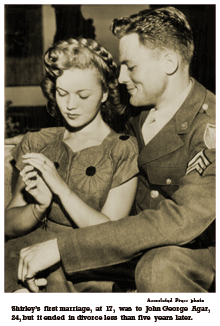 Associated Press photo caption reads -- 'Shirley's first marriage, at 17, was to John George Agar, 24, but it ended in divorce less than five years later.'