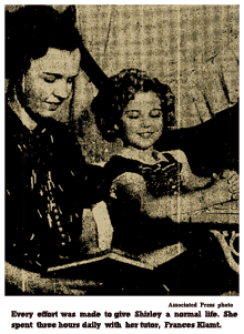 Associated Press photo caption reads -- 'Every effort was made to give Shirley a normal life. She spent three hours daily with her tutor, Frances Klamt.'
