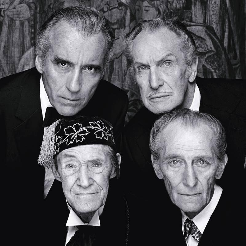 legends of Horror cinema Sir Christopher Lee, Vincent Price, John Carradine and Peter Cushing.