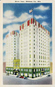 Oklahoma's Skirvin Towers circa 1937  In 1920, radio station 5XT went on the air as an experimental radio station in Earl Hull's home in Oklahoma City. Mr. Hull and his partner, H.S. Richards, had learned their radio experience from their service in World War I. Indeed they first 'powered' their radio with a reported 'three pint jars containing a solution of borax and water, into each of which was placed a pair of lead electrodes'.  In 1921, Hull and Richards, were granted the call letters 'WKY' for a radio station at 1040 kilocycles. The listed owner was 'The WKY Radio Shop'. By 1922 radio station WKY was granted a federal license for Oklahoma City, OK.  Edward King Gaylord's Oklahoma Publishing Company purchased the license in 1925 for a reported $5,000.00 and began broadcasting as WKY, Oklahoma City, as the Radiophone Company, a subsidiary of the Oklahoma Publishing Company, publisher of The Daily Oklahoman.  The station reopened in the Plaza Court Building at Northwest Tenth Street, and Classen Drive. Its broadcast tower and transmitter stood two miles away, near Northwest Thirty-ninth Street. The station made a profit throughout the early years of the Great Depression. In response to this early success, Gaylord added state-of-the art technology in 1936, making it one of the Nation's most sophisticated broadcasting facilities of its day.  Mr. Gaylord's gamble was viewed as a reported 'beacon of hope' during the dustbowl years of The Great Depression. He also observed the extraordinary success of the highly popular early Grand Ole Opry broadcasts from WSM-AM from Nashville, KY.  WKY also moved to the Skirvin Towers in downtown Oklahoma City in 1936, at Broadway and N.W. 1st Street, installing a new Kilgen pipe organ, and three new studios.  The Kilgen Pipe Organ is the source of the eerie organ music heard at the opening of each episode of Dark