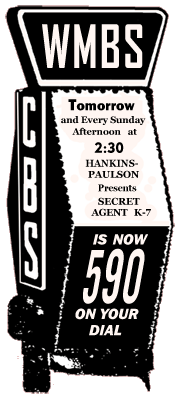 Spot ad for Secret Agent K-7 Returns over CBS affiliate WMBS from January 17 1942