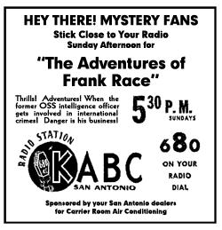 San Antonio spot ad for The Adventures of Frank Race from July 17 1949