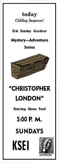 Christopher London premiere spot ad from January 22 1950