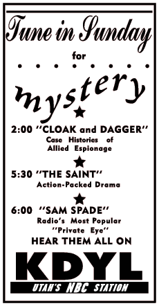 Cloak and Dagger Spot Ad from Aug 08 1950