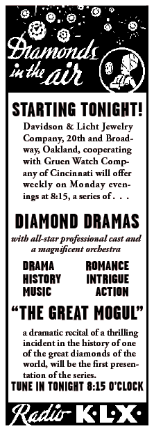 'Diamonds in the Air' spot for the Diamond Dramas premiere episode 'The Great Mogul' from April 1 1935