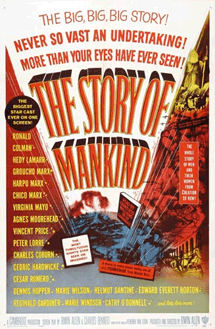 Ronald Colman's last film appearance headlining The Story of Mankind (1957) as The Spirit of Man