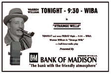Bank of Madison-sponsored 'Strange Wills' spot ad from 1947