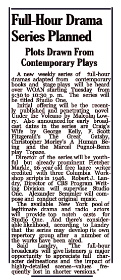Studio One Announcement from April 27 1947
