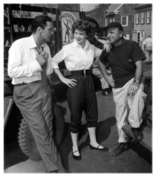 Director Joseph Lewis talking with Polly Bergen and Barry Sullivan, on the set of Cry of the Hunted (1953).