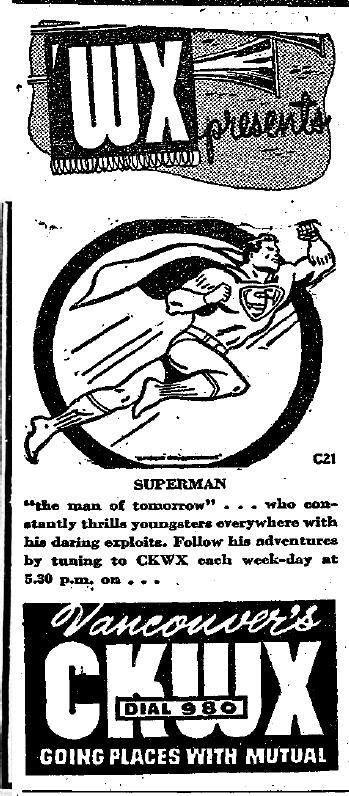 June 1950 ad for the Superman radio show, from CKWX in British Columbia, Canada.