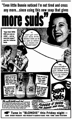 First Super Suds spot ad for 1944 Blondie Run