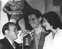 Bud Collyer at Mutual's Superman mike with Harry Donnefeld and Joan Alexander, ca. 1938