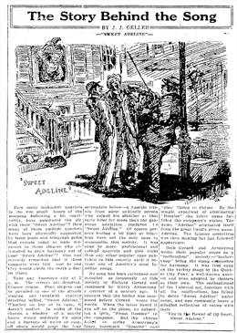 The Story Behind The Song weekly feature. Sweet Adeline from November 15 1925