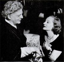 Tallulah hobnobs with Ethel Barrymore at a 1950 Hedda Hopper shindig.