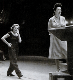 Tallulah Bankhead paces and smokes while rehearsing with Elthel Merman circa 1951. Bankhead reportedly puffed an estimated 150 cigarettes per day.