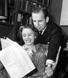 Publicity photo of Tandy and Cronyn reviewing a Television script for the NBC Television version of The Marriage, ca. 1954